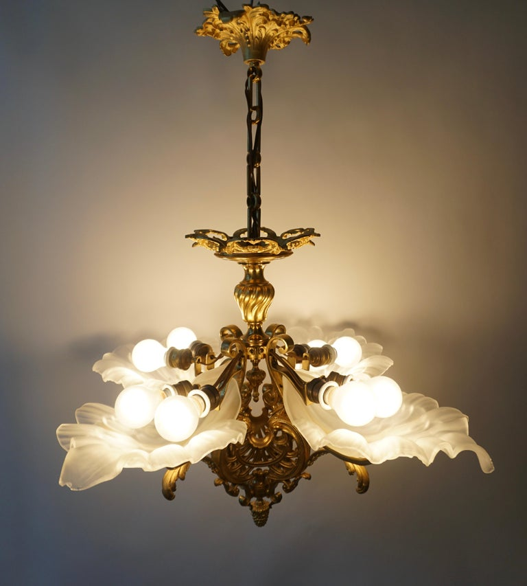 French Gilt Bronze Chandelier with Frosted Glass For Sale 7