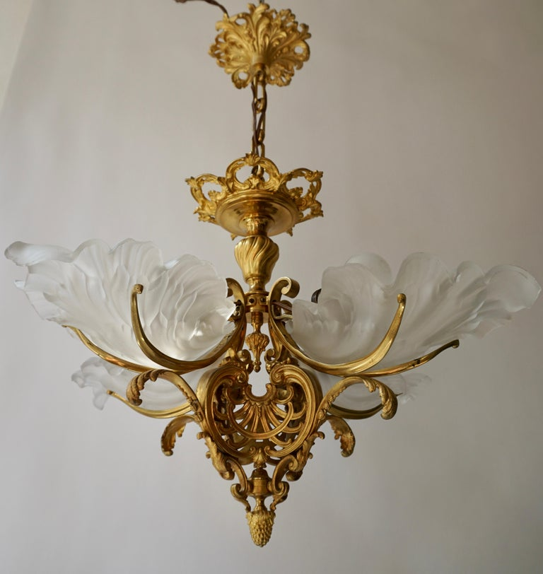 French Gilt Bronze Chandelier with Frosted Glass For Sale 8