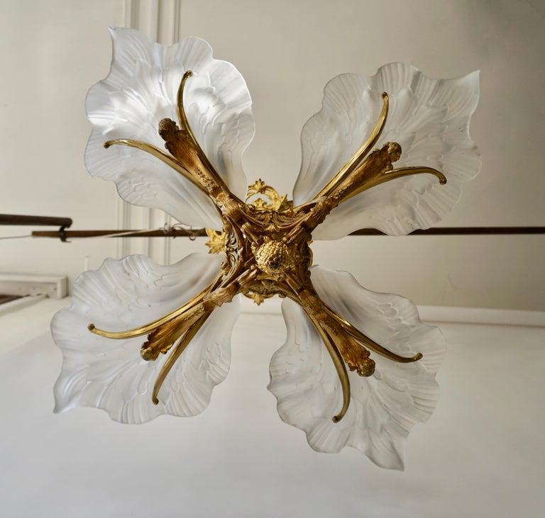 20th Century French Gilt Bronze Chandelier with Frosted Glass For Sale