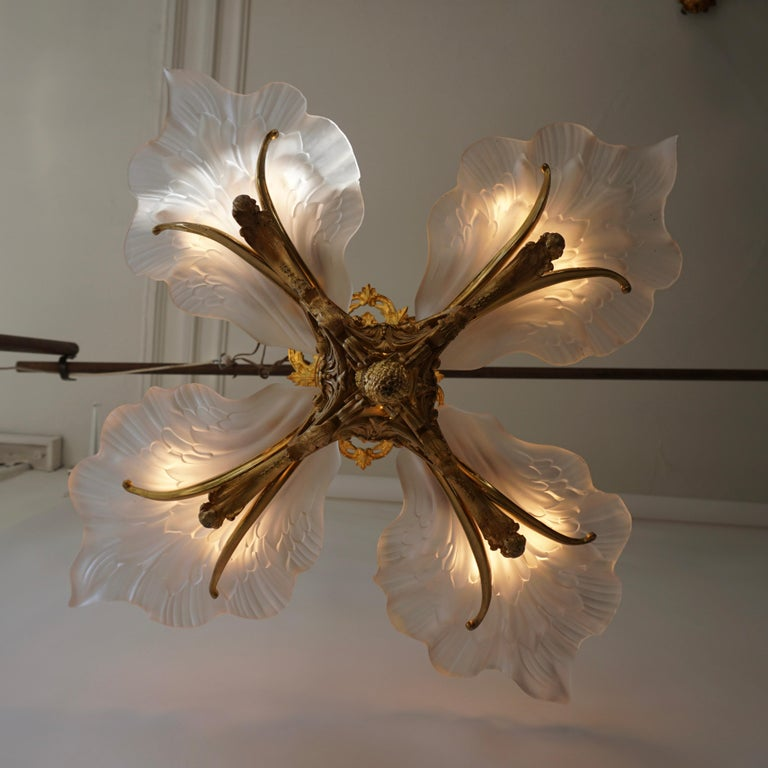French Gilt Bronze Chandelier with Frosted Glass For Sale 2