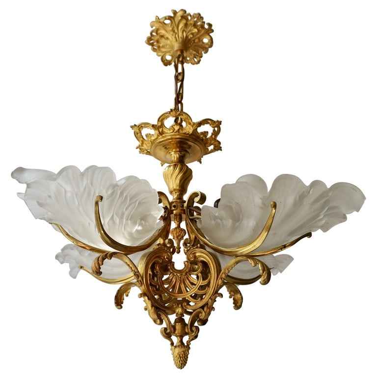 French Gilt Bronze Chandelier with Frosted Glass For Sale