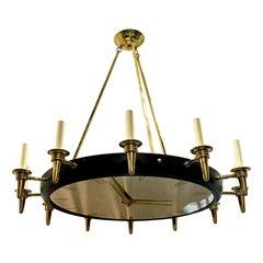 """French Gilt Bronze """"Clock"""" Chandelier"""