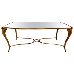 French Gilt Bronze Cocktail Table with Mirrored Top, Maison Baguès Attributed