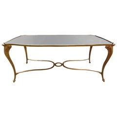 French Gilt Bronze Cocktail Table with Mirrored Top, Maison Baguès Style