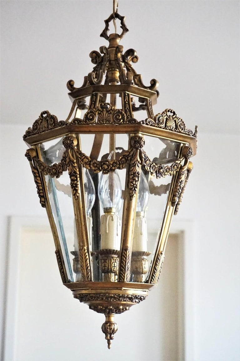 Late 19th Century French Gilt Bronze Eight-Sided Clear Glass Four-Light Lantern For Sale 1