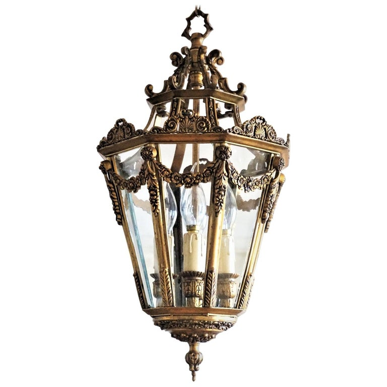 Late 19th Century French Gilt Bronze Eight-Sided Clear Glass Four-Light Lantern For Sale