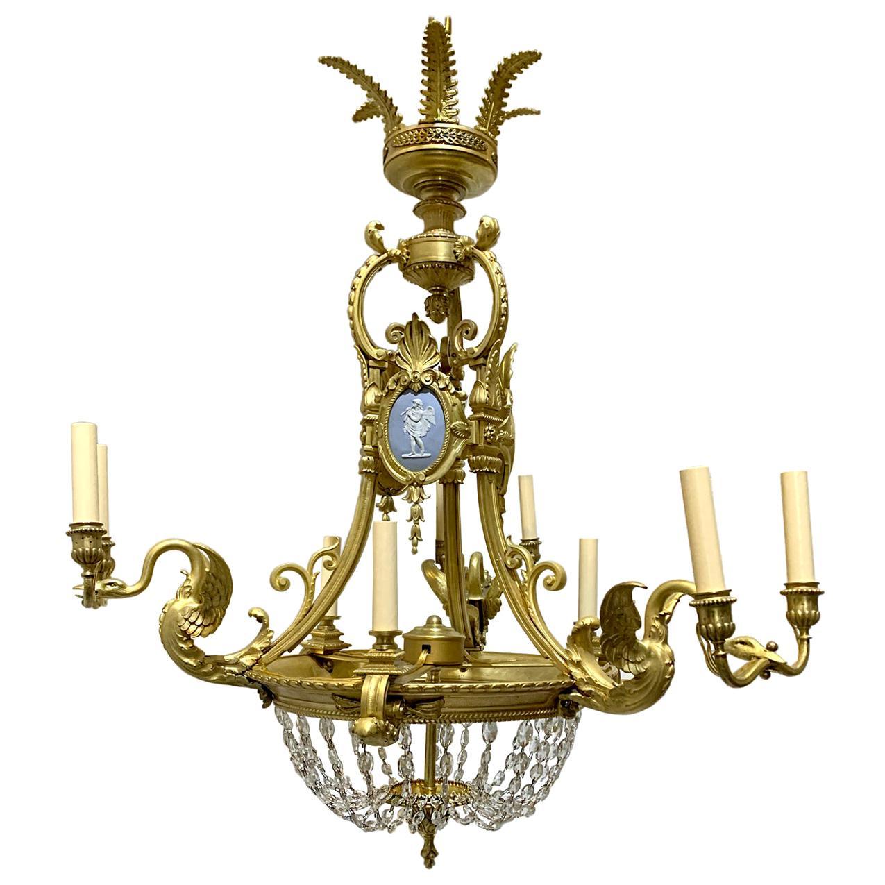 French Gilt Bronze Empire Chandelier