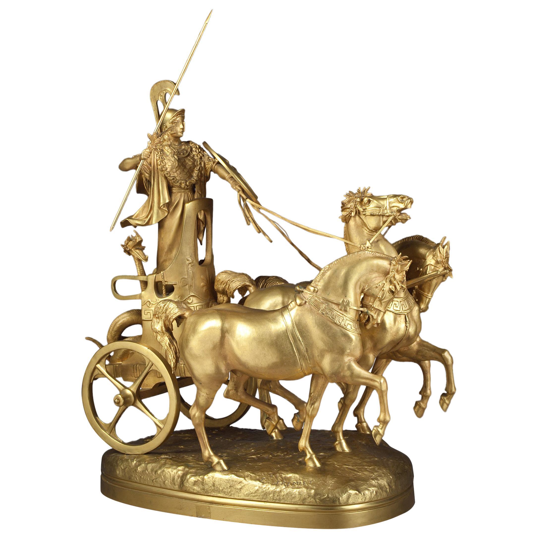 "French Gilt Bronze Group of ""Char De Diane"" by Emmanuel Fremiet"
