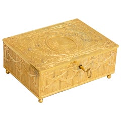 French Gilt Bronze Jewelry Box circa 1900 with Original Key Neoclassical Revival