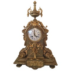 French Gilt Bronze Mantel Clock, Rococo Revival, 19th Century with Enamel Dial