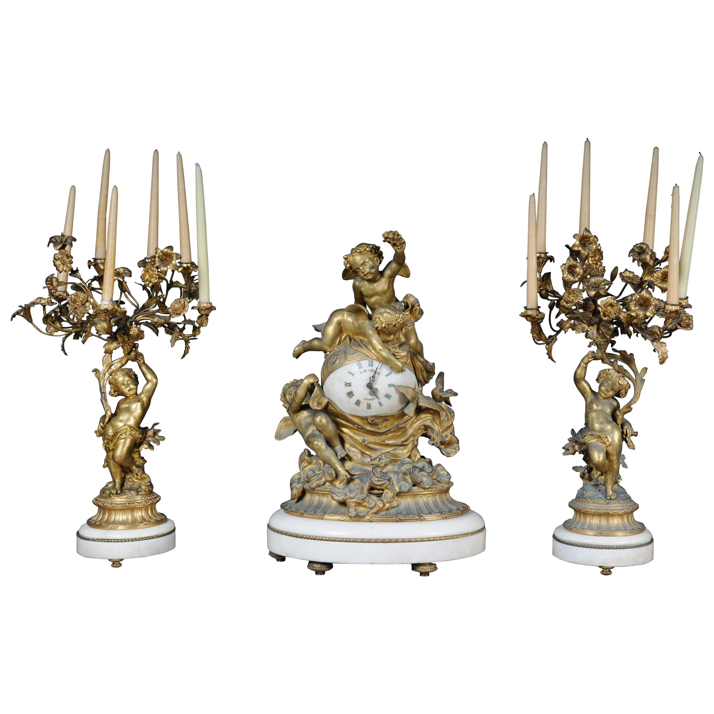 French Gilt-Bronze, Marble Orbit Clock Garniture