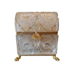 French Gilt Bronze Mounted Cut Glass Domed Casket Cristal Frères, Martin Benito