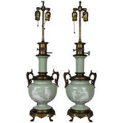 French Gilt Bronze Mounted Double-Sided Pate Sur Pate Celadon Ground Lamps, Pair