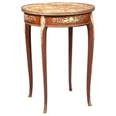 French Gilt Bronze Mounted Mahogany Bouillotte Marble-Top Table