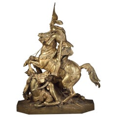 "French Gilt Bronze of ""Joan of Arc Defeating the English"" by Theodore Gechter"