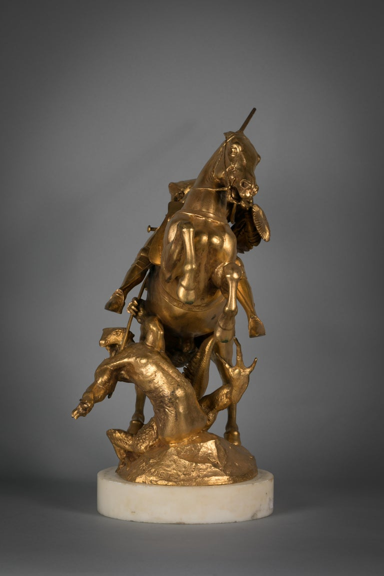 French Gilt Bronze of St. George Slaying the Dragon, by Emmanuel Fremiet In Excellent Condition For Sale In New York, NY