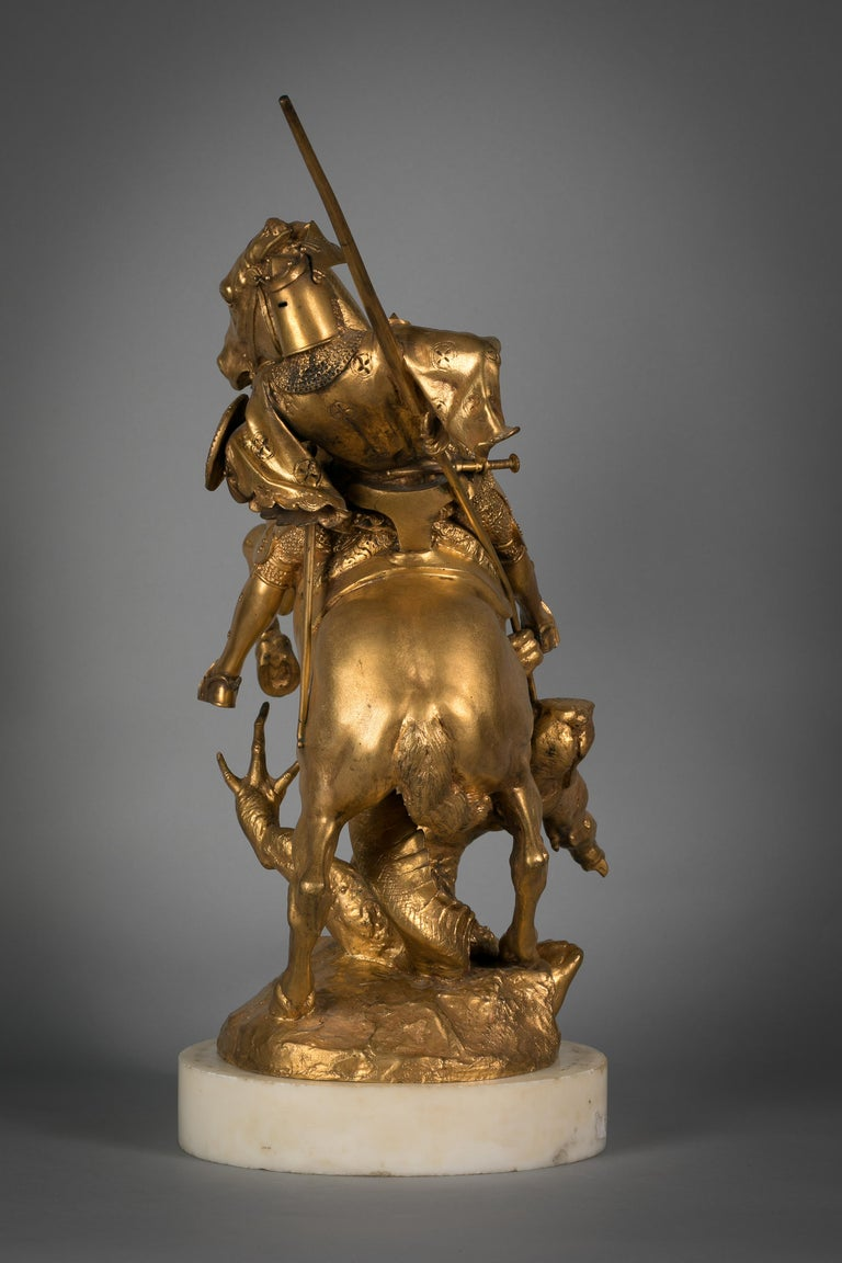 Late 19th Century French Gilt Bronze of St. George Slaying the Dragon, by Emmanuel Fremiet For Sale