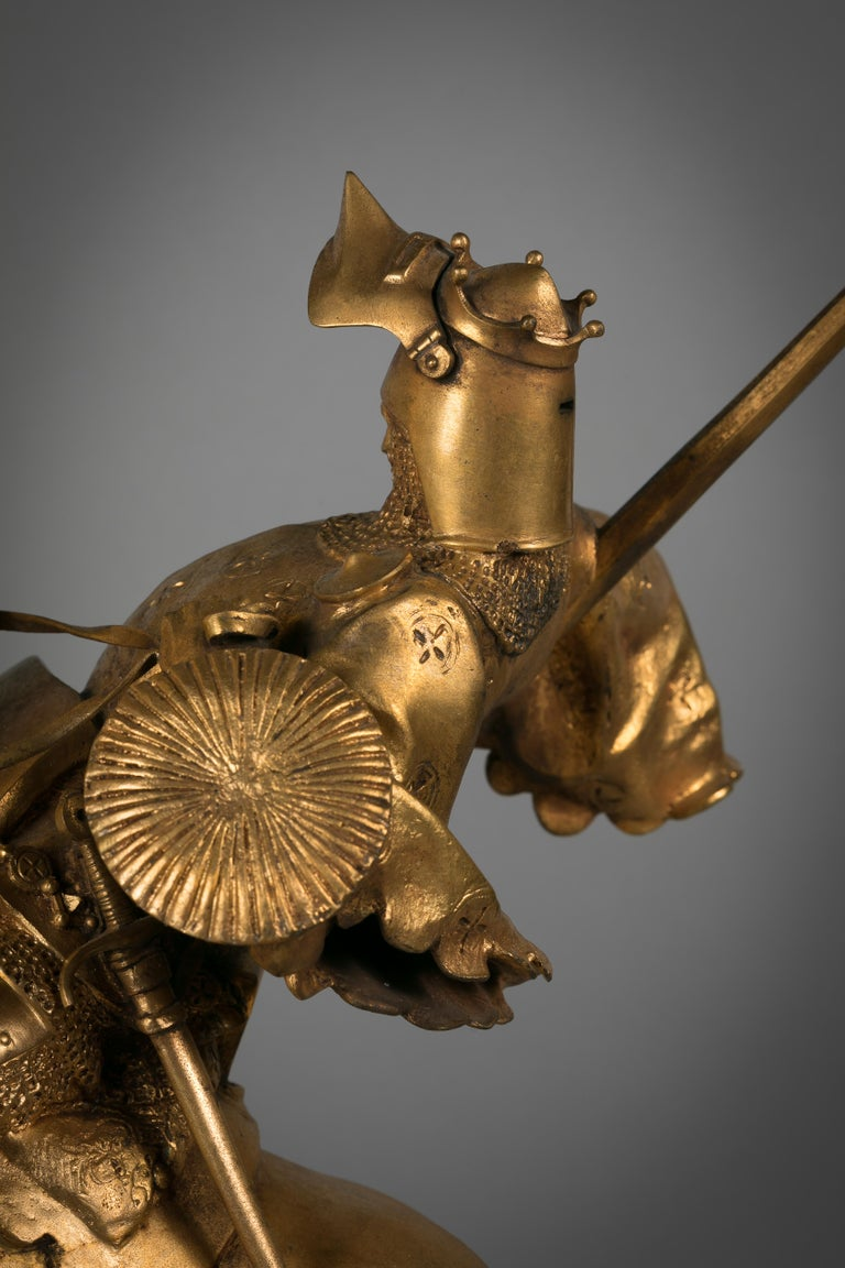 French Gilt Bronze of St. George Slaying the Dragon, by Emmanuel Fremiet For Sale 1