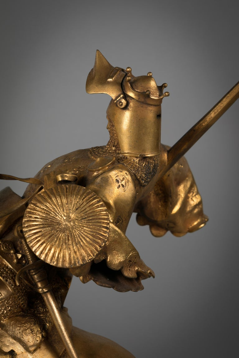 French Gilt Bronze of St. George Slaying the Dragon, by Emmanuel Fremiet For Sale 2
