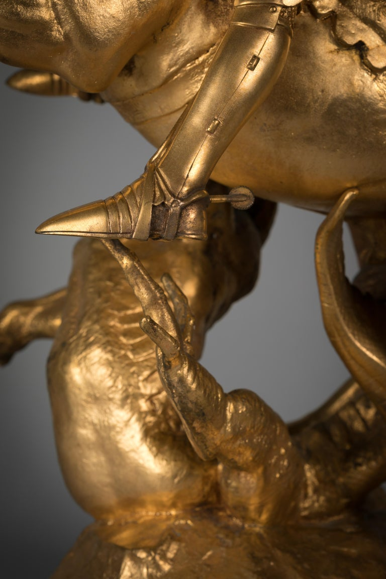 French Gilt Bronze of St. George Slaying the Dragon, by Emmanuel Fremiet For Sale 4