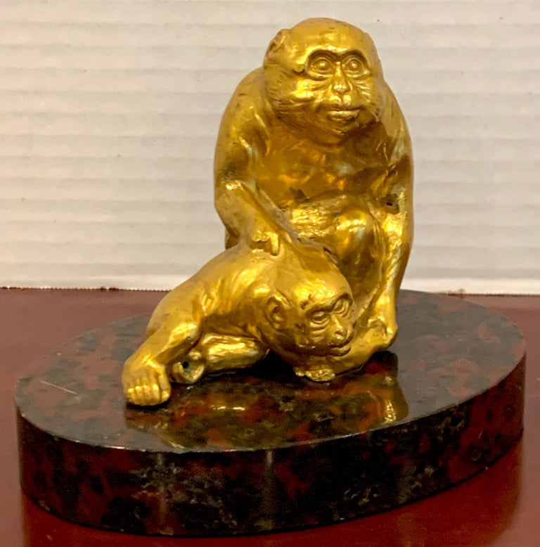 Belle Époque French Gilt Bronze Sculpture of Seated Monkeys For Sale