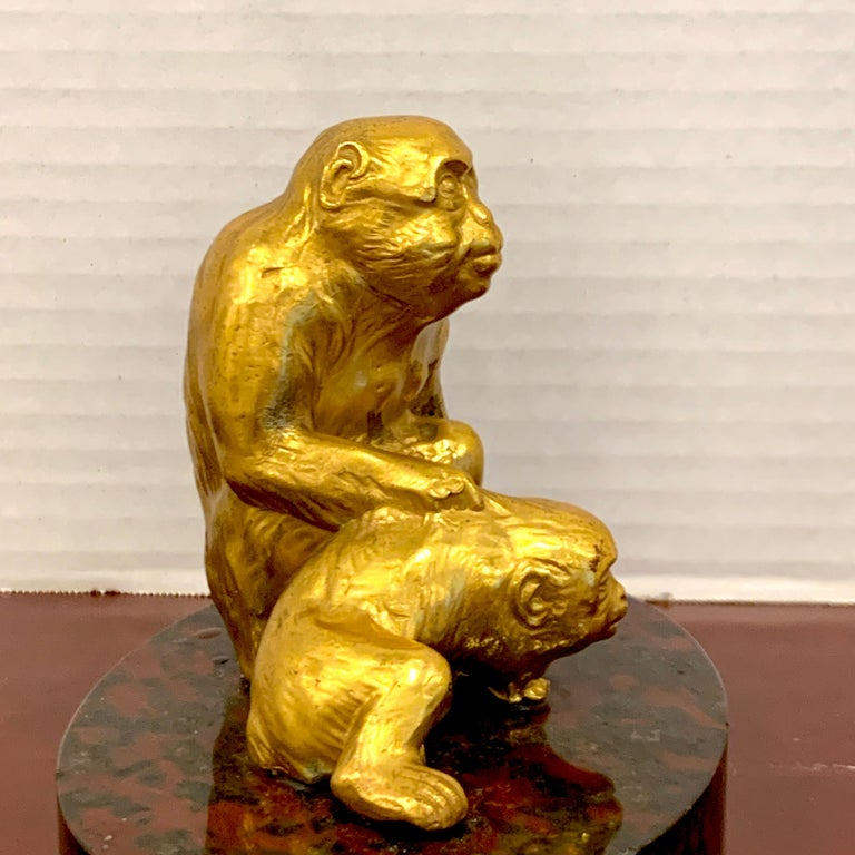 20th Century French Gilt Bronze Sculpture of Seated Monkeys For Sale