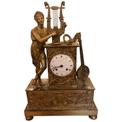 French Gilt Broze Figurative Clock