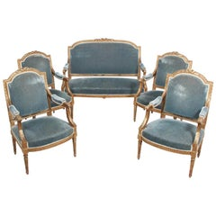 French Gilt Carved Louis XVI-Style Salon Suite