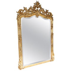 French Gilt Carved Wood and Gesso Foliage Wall Mirror with Beveled Glass C. 1820