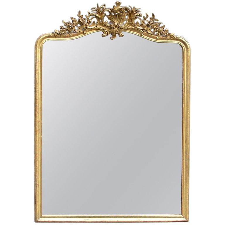 French Gilt Carved Wood Floral Wall / Mantel Mirror
