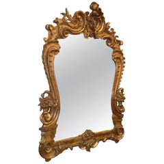 French Gilt Carved Wood Foilage and Beveled Decorative Wall Mirror, Circa 1820