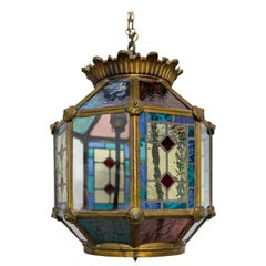 French Gilt Copper and Glass Pendant Light with Vitrail Facets, c. 1960