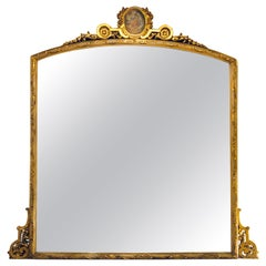 French Gilt Gold over the Mantle or Console Trumeau Mirror