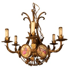 French Gilt Iron Chandelier with Porcelain Genre Scene Panels