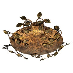 French Gilt Iron Flush Mount with Naturalistic Design of Branches and Leaves