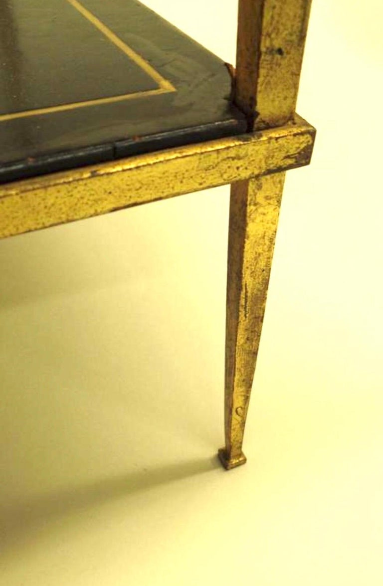 French Gilt Iron and Leather Modern Neoclassical Cocktail Table by Maison Ramsay For Sale 3
