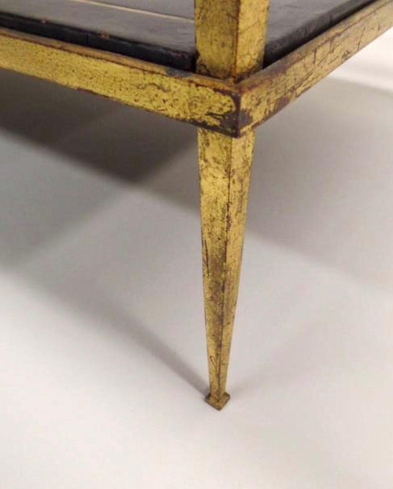 French Gilt Iron and Leather Modern Neoclassical Cocktail Table by Maison Ramsay For Sale 4