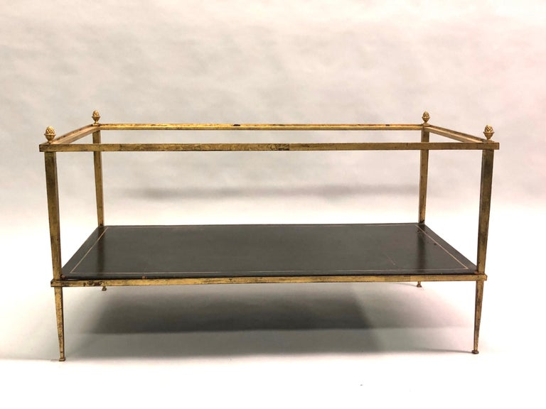 Mid-Century Modern French Gilt Iron and Leather Modern Neoclassical Cocktail Table by Maison Ramsay For Sale