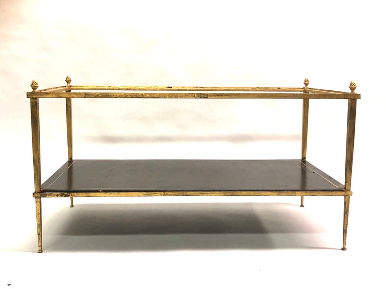 Embossed French Gilt Iron and Leather Modern Neoclassical Cocktail Table by Maison Ramsay For Sale