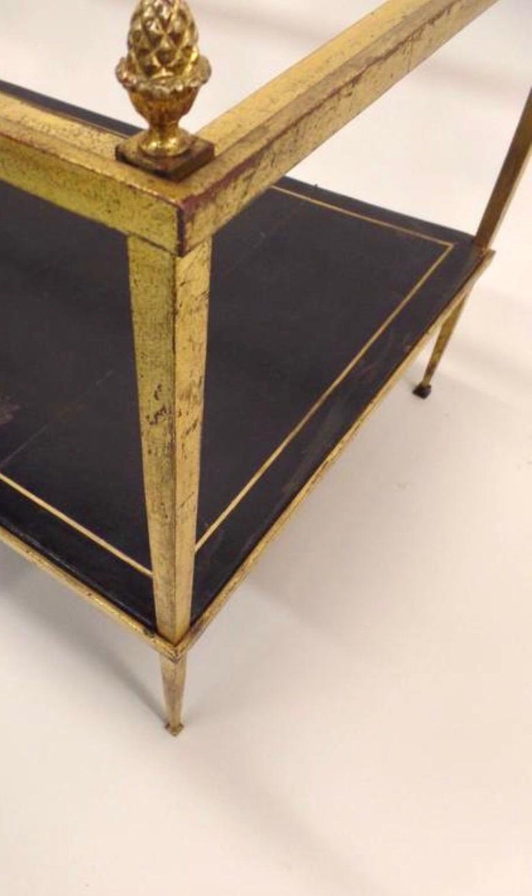 20th Century French Gilt Iron and Leather Modern Neoclassical Cocktail Table by Maison Ramsay For Sale