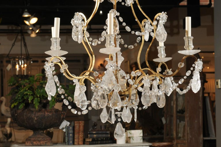 French Gilt Iron Six-Arm 19th Century Chandelier with Madagascar Rock Crystals For Sale 7