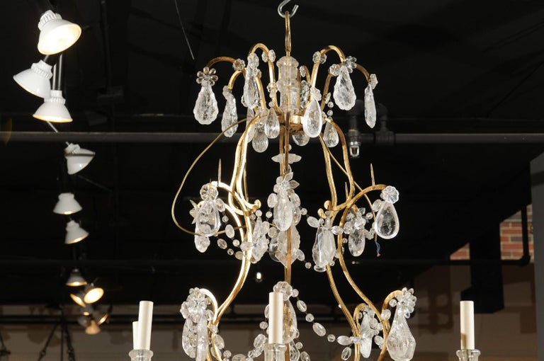 French Gilt Iron Six-Arm 19th Century Chandelier with Madagascar Rock Crystals For Sale 8