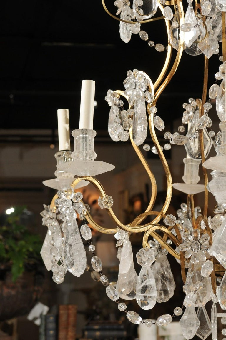 French Gilt Iron Six-Arm 19th Century Chandelier with Madagascar Rock Crystals For Sale 9