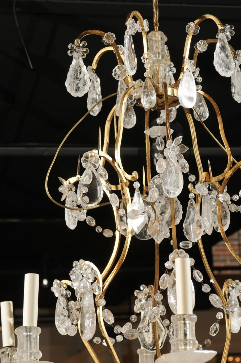 French Gilt Iron Six-Arm 19th Century Chandelier with Madagascar Rock Crystals For Sale 10