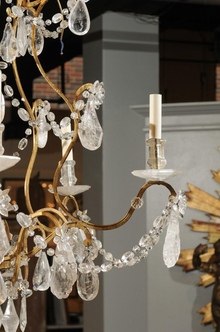 French Gilt Iron Six-Arm 19th Century Chandelier with Madagascar Rock Crystals For Sale 12
