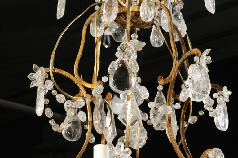 French Gilt Iron Six-Arm 19th Century Chandelier with Madagascar Rock Crystals For Sale 1