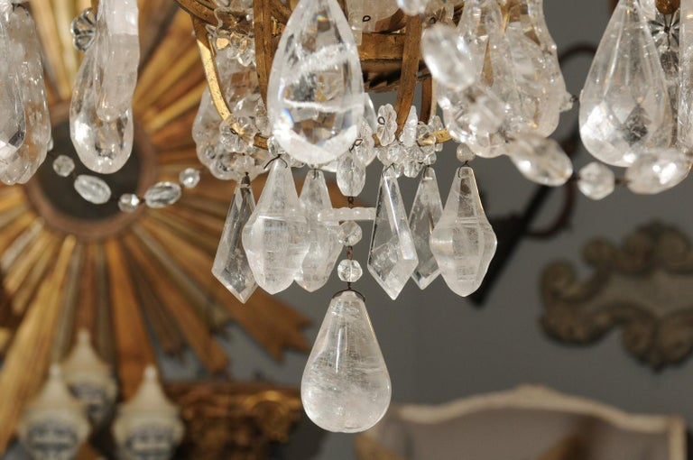 French Gilt Iron Six-Arm 19th Century Chandelier with Madagascar Rock Crystals For Sale 2