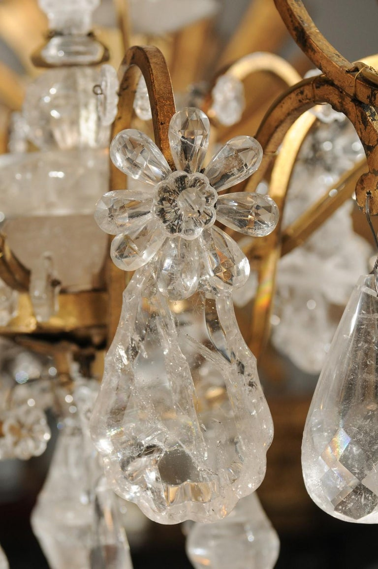 French Gilt Iron Six-Arm 19th Century Chandelier with Madagascar Rock Crystals For Sale 3