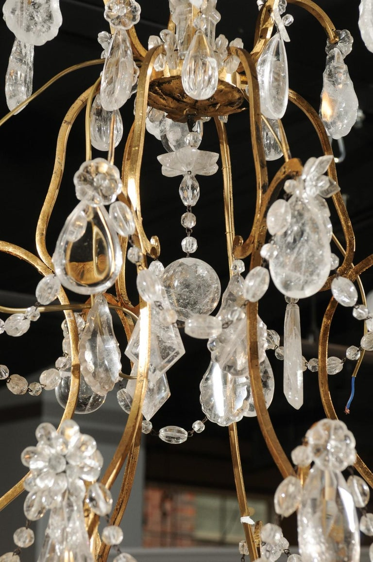 French Gilt Iron Six-Arm 19th Century Chandelier with Madagascar Rock Crystals For Sale 5