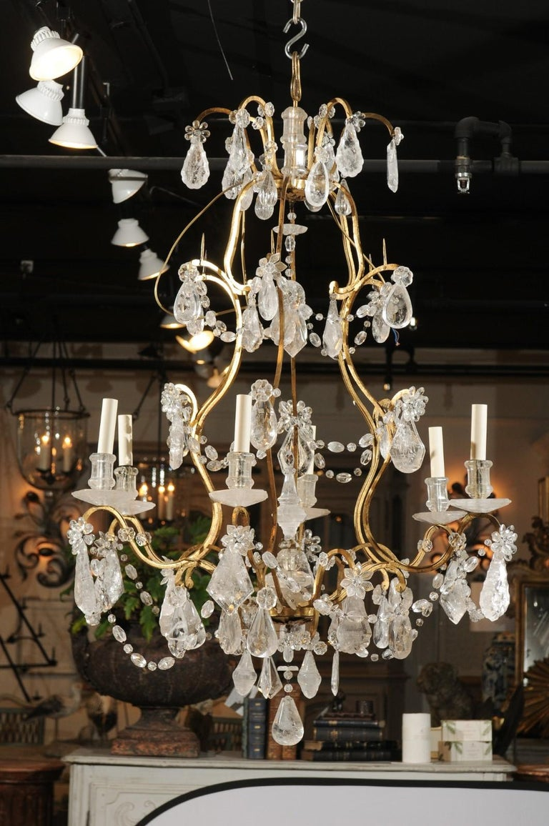 French Gilt Iron Six-Arm 19th Century Chandelier with Madagascar Rock Crystals For Sale 6